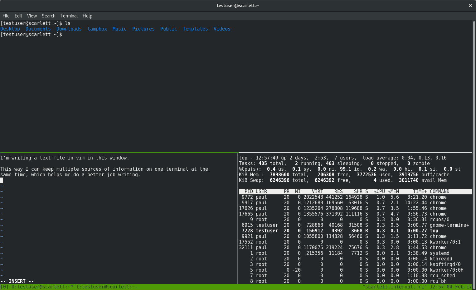 tmux session with three panes running different commands
